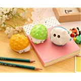TryTry 4 pcs Cute Novelty Kawaii Cartoon Lovely Unique Animal Hedgehog Shaped Two-Hole Manual Pencil Sharpeners Toy School Gifts Prizes for Kids School Classrooms Students Home(With One Free Gift)