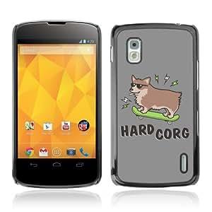 YOYOSHOP [Hard Corg Funny Corgi Dog] LG Google Nexus 4 Case