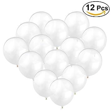 ounona globos transparentes de ltex engrosados globos brillantes para fotos decoraciones de boda 12pcs - Globos Transparentes