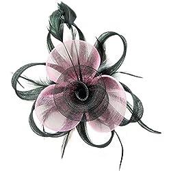 Fascinator Hair Clip Women Flower Feather Headband Pillbox Hat Tea Party (A Black Pink)