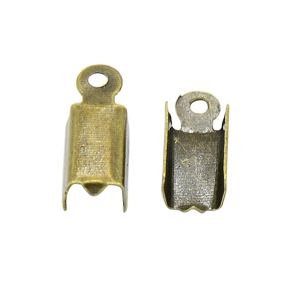 6mm Tiparts 32 Pcs Flat Leather Crimp Ends,Ribbon Clamp Ends,Ribbon Clasps for Jewelry Making Findings