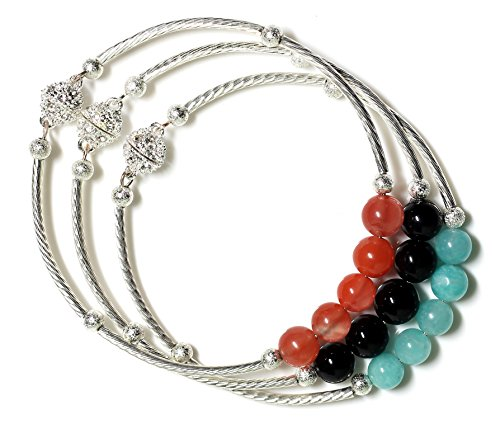 Polyth Handmade Women's Shamballa Gemstones Cuff Bracelets Set of 3 Five Stones