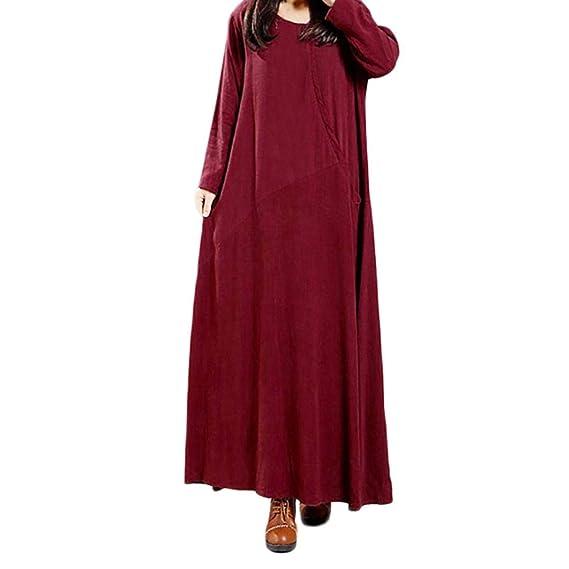 b09a98074d47 NEEDRA Women s Kaftan Cotton Long Sleeve Plain Casaul Oversized Maxi Long  Dress (Burgundy