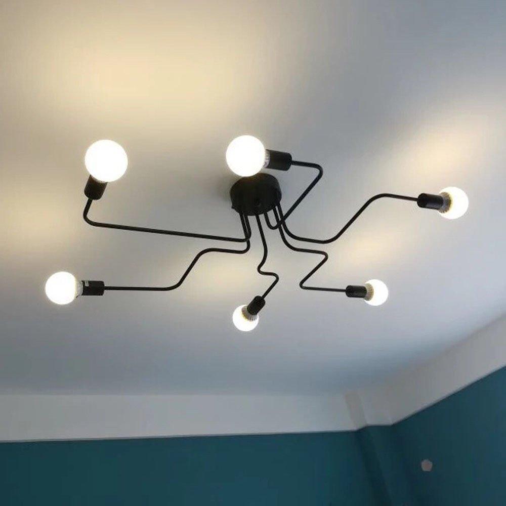 Ruxue modern ceiling light 6 heads retro metal wall mount chandeliers light fixtures 6 heads black