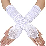 """BABEYOND Long Opera Party 20s Satin Gloves Stretchy Adult Size Elbow Length 17.7"""" (Wave Pleated Fingerless-White)"""