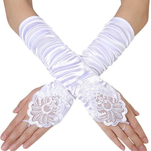 (BABEYOND Long Opera Party 20s Satin Gloves Stretchy Adult Size Elbow Length 17.7