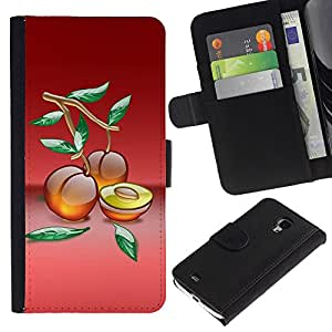 iBinBang / Flip Funda de Cuero Case Cover - Frutas Melocotones Macro - Samsung Galaxy S4 Mini i9190 MINI VERSION!