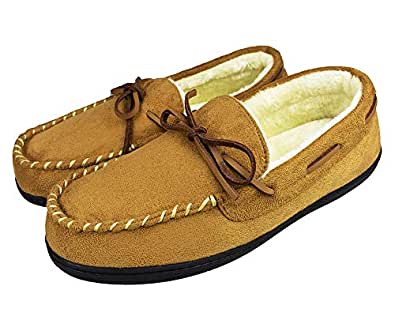 Tirzrro Men's Warm Microsuede Plush Lined Moccasins Slip On Faux Fur Slippers Indoor Outdoor Shoes US 9 Beige
