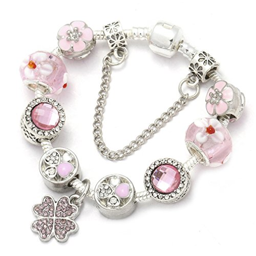 Antique Silver Plated Pink Crystal Glass Charm Bracelet & Bangle For Women Pink 19cm