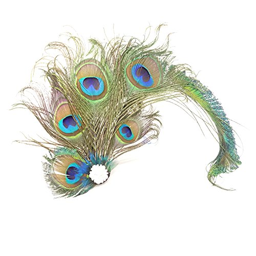 Peacock Feather Hairpin yueton Fascinator Peacock Feather Hair Clip Flapper Hair Decoration and Hat Accessory For Peacock Costume Party Carnival Party Hair Pin