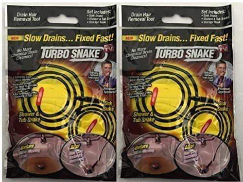 SET of 2 NEW Turbo Snake Drain Hair Removal Tool Sink (Turbo Snake Drain)