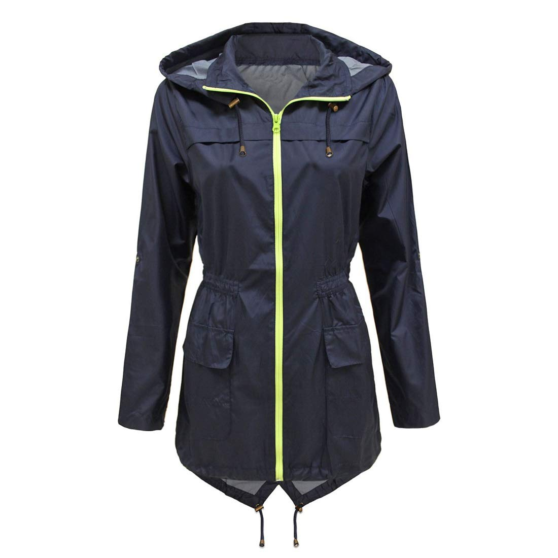 bluee AUSWIEI Long Section Waist Raincoat Waterproof Thin Leisure (color   Green, Size   S)