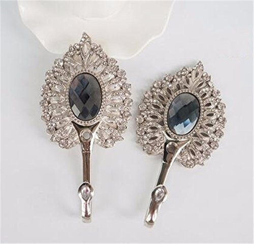 2 pieces/lot Peacock Rhinestone Wall Hooks Alloy Curtain Tie Back Ball Tieback Holders Hat Coat Robe Hanger Home Decoration Design