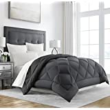 Sleep Restoration Goose Down Alternative Comforter - Reversible - All Season Hotel Quality Luxury Hypoallergenic Comforter -Full/Queen - Grey/Black