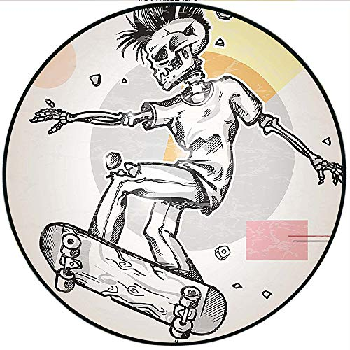 Short Plush Round Carpet Punk Rocker Skeleton Boy on a Skateboard Skiing with Abstract Background Black and White Used in a Variety of venues 70.8