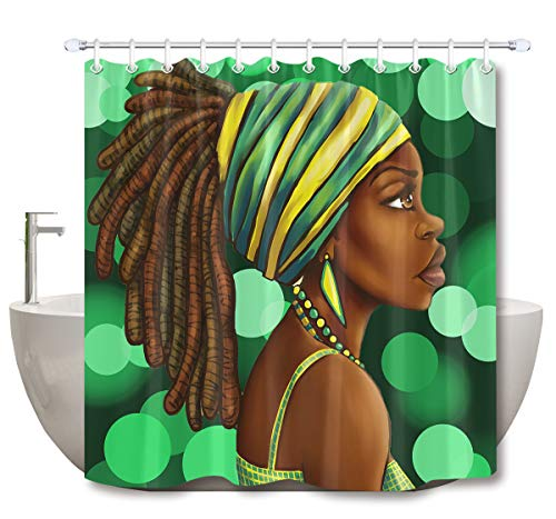 (LB Afro Hairstyle Girl Shower Curtain,Tribal Lady with Green Aperture African American Theme Art Print Ethnic Shower Curtains for Bathroom Waterproof Fabric 72x72 Inch with Hooks)