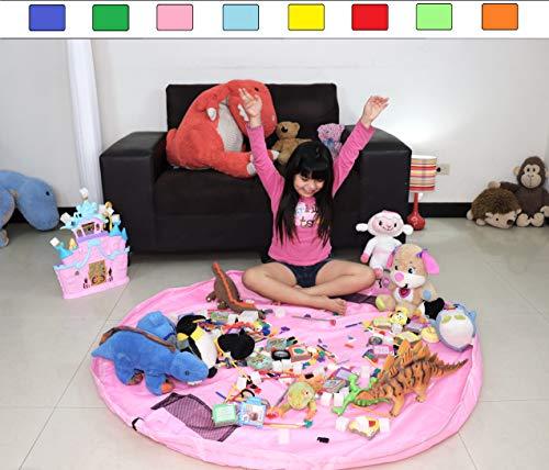 Ramsay Toy Storage Bags, Building Bricks Storage Bag, Toys Organizer, Colorful Baby Play Mat, Playing Mats, Portable Toys Blanket Rug, (Pink)