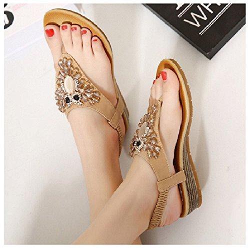 Womens Beach Sandals Khaki Hanxue Summer Gladiator Sandals dRqwdU