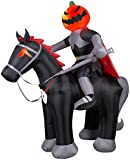 Gemmy Airblown Inflatable Projection Fire and Ice Horseman with Pumpkin Head Halloween Decoration, 8-feet Tall