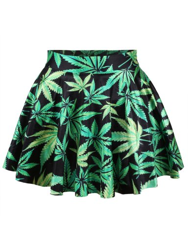Pink Queen Women Girls Digital Print Stretchy Flared Pleated Casual Mini Skirt (Free Size, Marijuana Leaves)