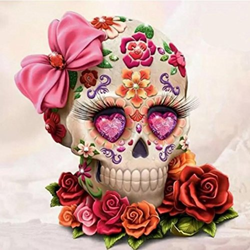 Lavany Flower Skull 5D Diamond Painting Kit, Full Drill DIY 5D Paintings Crystal Rhinestone Embroidery Arts Craft Children,Clearance Cross Stitch Kits (A)