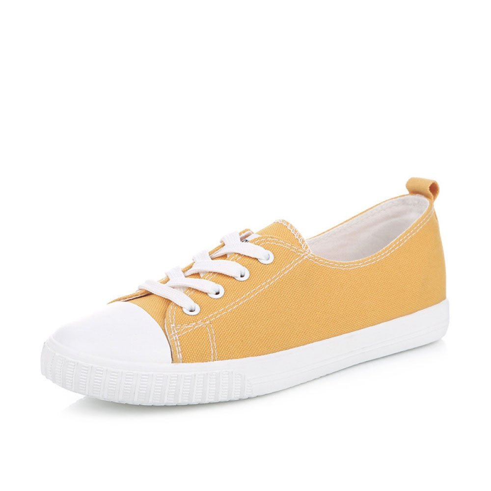 Koyi Zapatos de Lona Para Mujer Estudiante Bottom Inferior Calzado Casual Alpargatas Zapatillas Retro Pumps 38 EU|Yellow