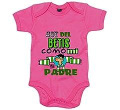 Body bebé Real Betis soy del Betis como mi padre - Amarillo, 6-12 meses: Amazon.es: Bebé