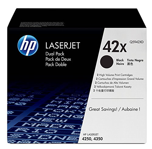 HP 42X (Q5942X) Black Toner Cartridge High Yield, 2 Toner Cartridges (Q5942XD) by HP