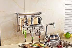 Cocina con XM palillos de acero inoxidable de la cuchara del estante de herramientas rack de almacenamiento accesorios de cocina
