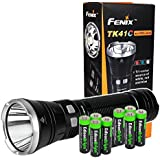 Fenix TK41C L2 1000 Lumen tri-color LED Flashlight (white/red/blue) with Eight EdisonBright AA Alkaline Batteries