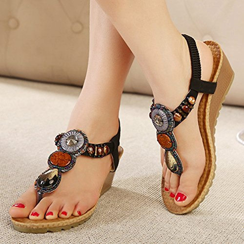 CYBLING Fashion Sexy Bohemian Beaded Wedge Sandals Shoes for Women Black 6T54Tu