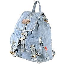 Donalworld Women Jeans Denim Backpack Travel School Bag