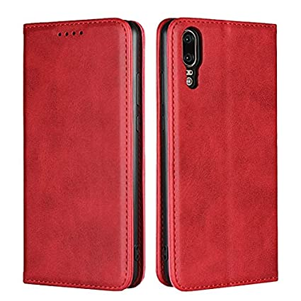Weejb- Huawei P20 Wallet Case, Embedded Magnetic Closure Cowhide Texture PU Leather Wallet Case