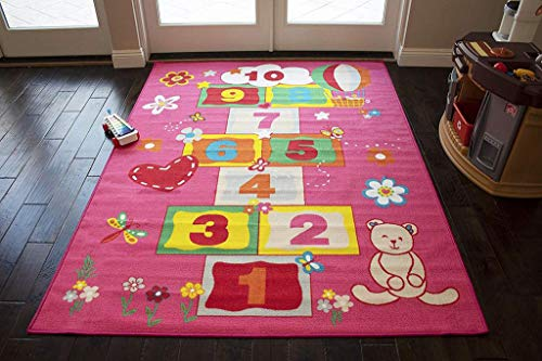 Hopscotch Rugby - LA Playtime Hopscotch Game Garden Puppets Numbers Cartoon Butterflies Balloons Pattern 5-Feet-by-7-Feet Polyester Made Boys Girls Area Rug Carpet Rug Colorful