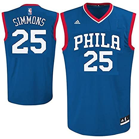 brand new 92511 2056c Outerstuff Ben Simmons Philadelphia 76ers #25 NBA Youth Road Jersey Blue