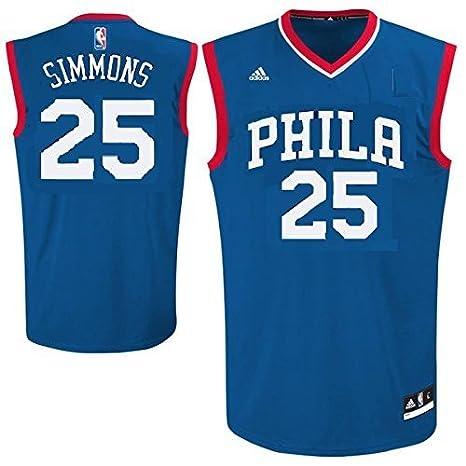 brand new 1d43c c1d44 Outerstuff Ben Simmons Philadelphia 76ers #25 NBA Youth Road Jersey Blue