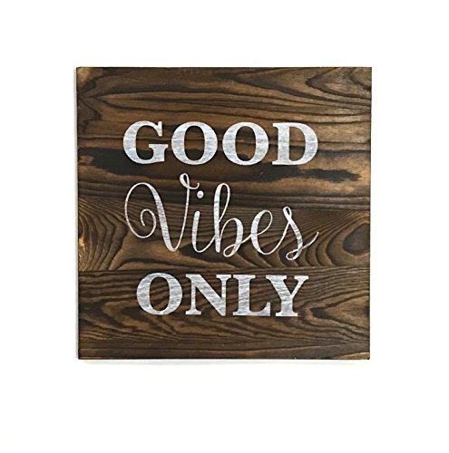 kaizen creations Good Vibes Only Rustic Wall Art 12quotx12quot  Made From Pine Wood made to look distressed like pallet wall art