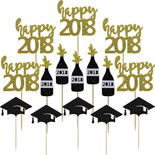 Gold Happy 2018 Cake Toppers Black Graduation Hat Champagne Cupcake Picks For Personalized Graduation Centerpieces Party Decor Supplies by Shxstore