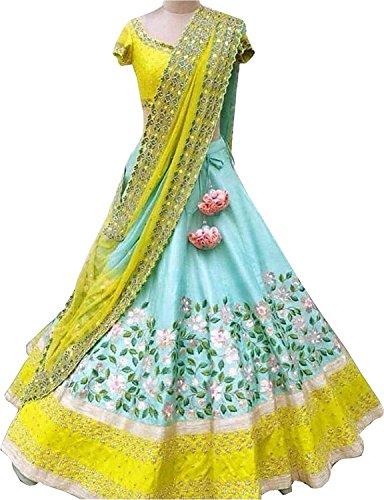 (REKHA Ethnic Shop Pure Banglory Silk Ethnic Wear Lehenga for Women's Lehenga LightBlue & Yellow Colour A276)