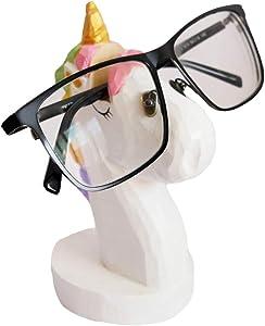 Red Dollar Handmade Wood Carved Eyeglass Sunglasses Holder Stand, for Home Office Desk School Decor (Unicorn)
