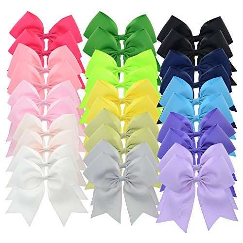 Price comparison product image 5 Inch Large Grosgrain Ribbon Cheer Bows with Alligator Hair Clips for Teens Juniors Pack of 30 LCLHB