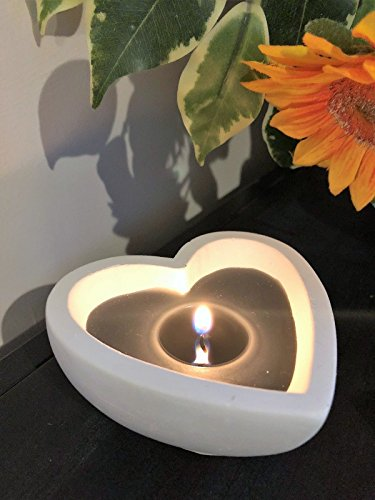 White Shabby Plaster Heart Shape Candle Dish Holder Wedding Table Decoration -