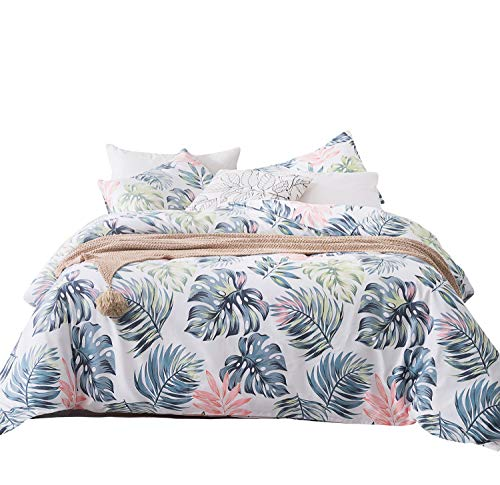 SUSYBAO 3 Pieces Duvet Cover Set 100% Natural Cotton King Size Green Leaves Print Bedding with Zipper Ties 1 Multi-Colored Botanical Pattern Duvet Cover 2 Pillowcases Luxury Quality Soft Comfortable