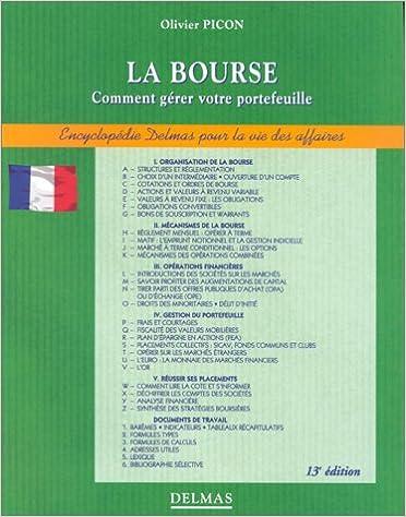 Téléchargement de livres Epub LA BOURSE. Comment gérer votre portefeuille, 13ème édition 1998 by Olivier Picon RTF 2247029515