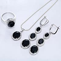 Jewelryongying11 Women Fashion 925 Silver Oval Cut Black Onyx Ring Necklace Wedding Jewelry Set (6)