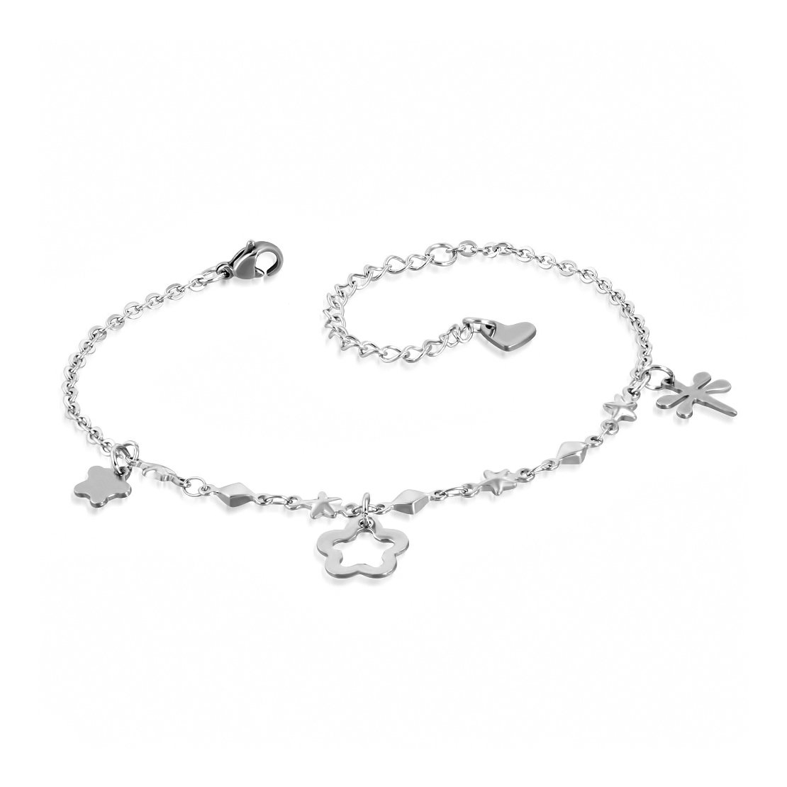Acier inoxydable Libellule Fleur étoile Charm Extender Chaîne Bracelet/bracelet de cheville NRG Steel Jewellery 205-WJG289