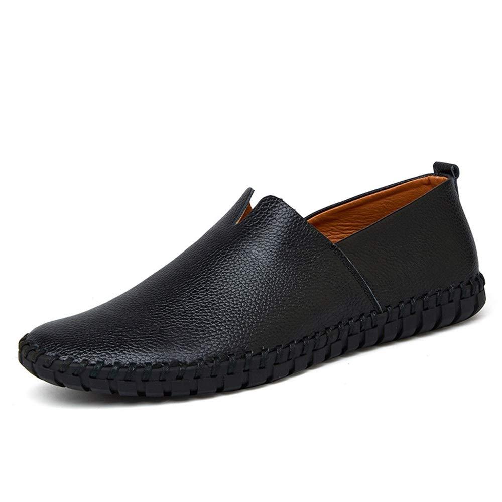Qiusa Echtes Leder Loafers für Männer Stiefelschuhe weiche Sohle Rutschfeste Breathable Stiefelschuhe Männer (Farbe : Blau, Größe : EU 48) Schwarz 5f1d94