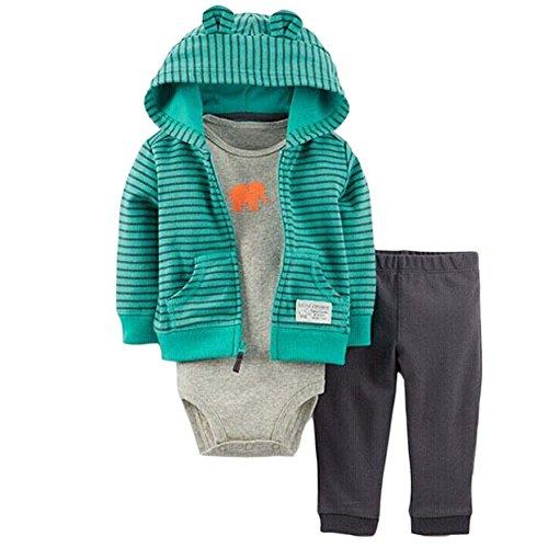 Baby outfits en kledingsets 0-24 maanden 3-delige Jack met lange mouwen en capuchon + rompertjes + broek