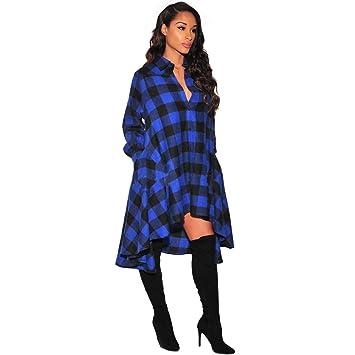 YALI Una Falda A Cuadros Irregulares,Azul Negro,S: Amazon.es ...