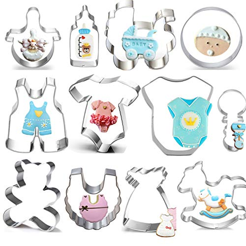 Baby Shower Cookie Cutter Set - 12 Piece -Teddy Bear,Onesies, Bib, Rattle, Bottle, Baby Carriage,Rocking Horse Fondant/Biscuit Cutters ()